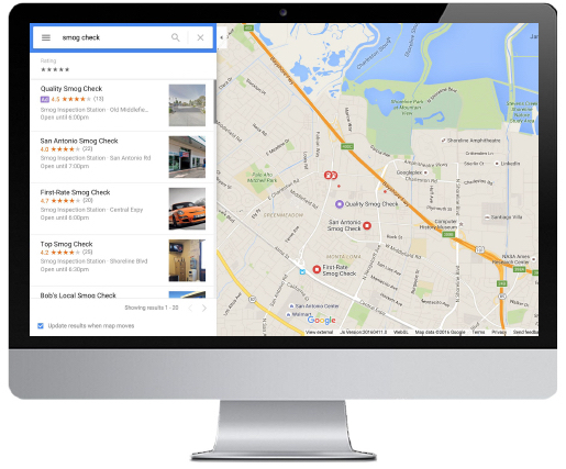 Google Maps Local Search Ads example