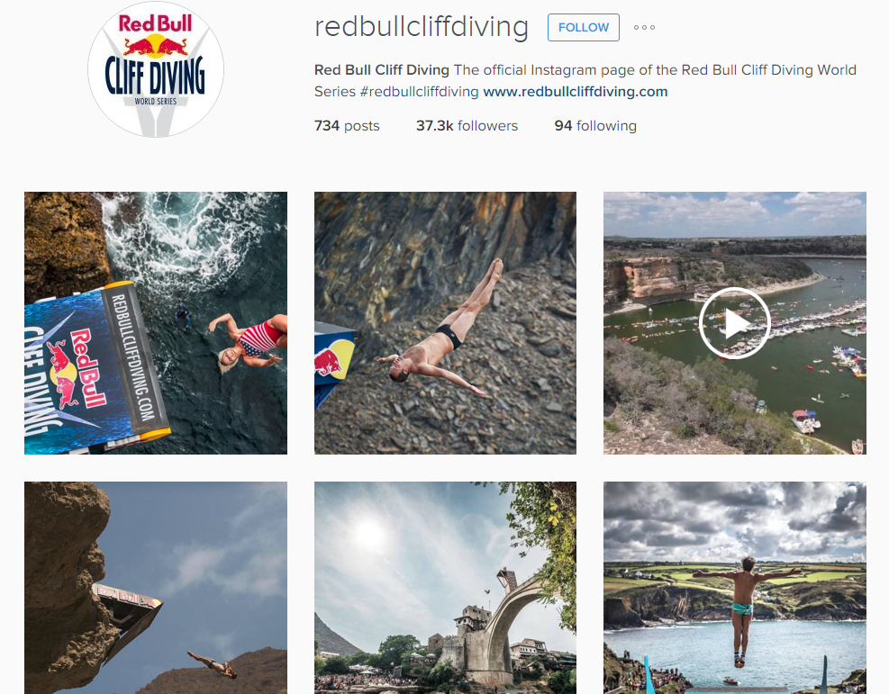 A screenshot from the dedicated Instagram account for Red Bull cliff diving world series, showing a thumbnail grid of different photographs and videos of people cliff diving.