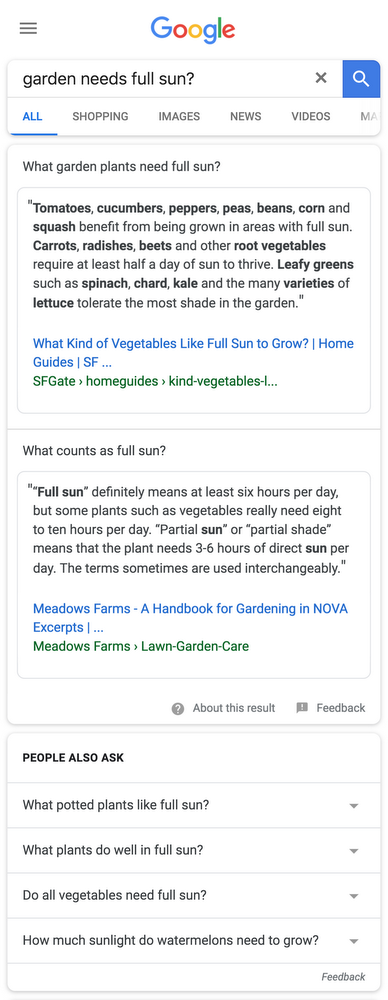 Expandable Featured Snippets Multi-Intent