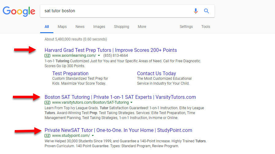Google Ads Networks SERP