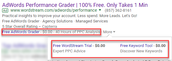 zero dollar price extension google adwords
