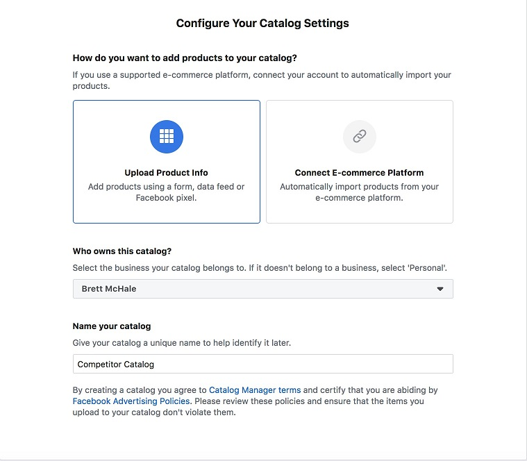 Facebook ad transparency ecommerce strategy catalog settings