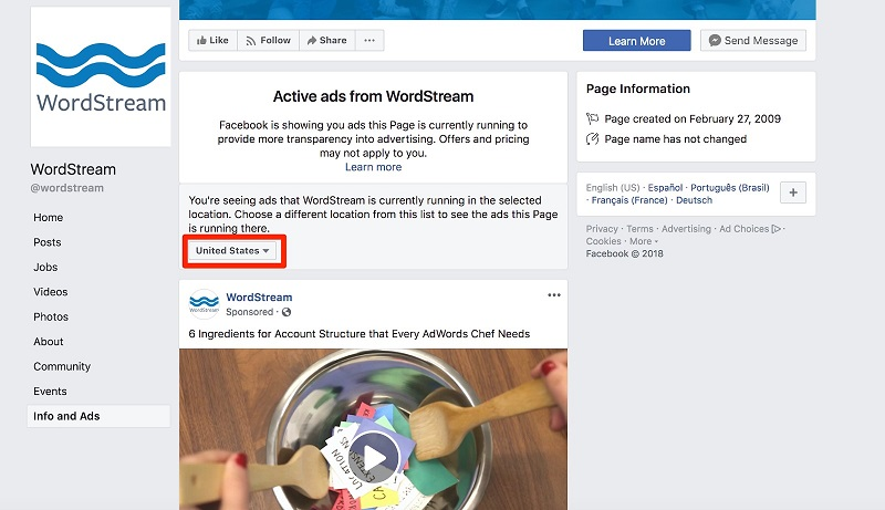 Facebook ad transparency ecommerce strategy info and ads page