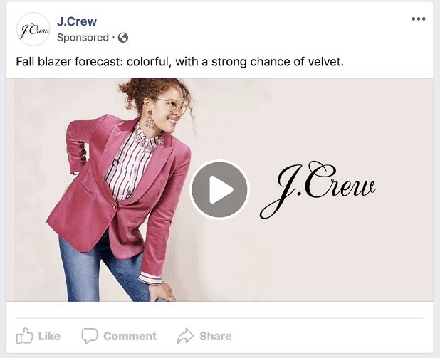 Facebook ad transparency ecommerce strategy Jcrew gif