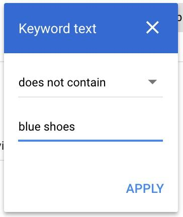 Google Ads automated rules keyword text