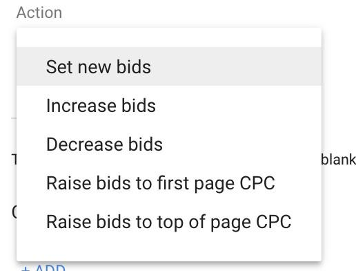 Google Ads automated rules set bids