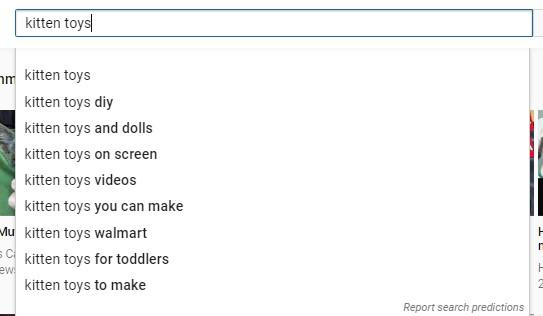 YouTube keyword research search suggestions kitten toys