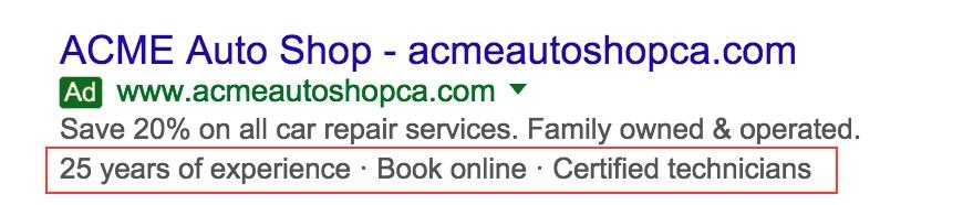 automated ad extensions example of a callout