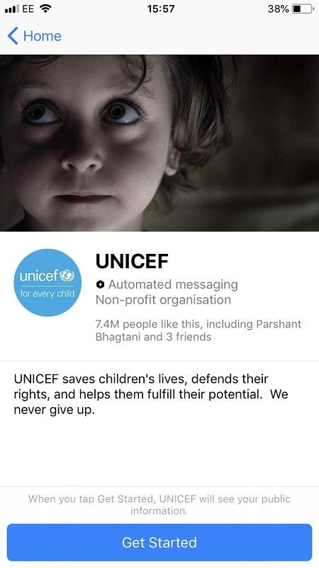 Facebook messenger bots UNICEF mission