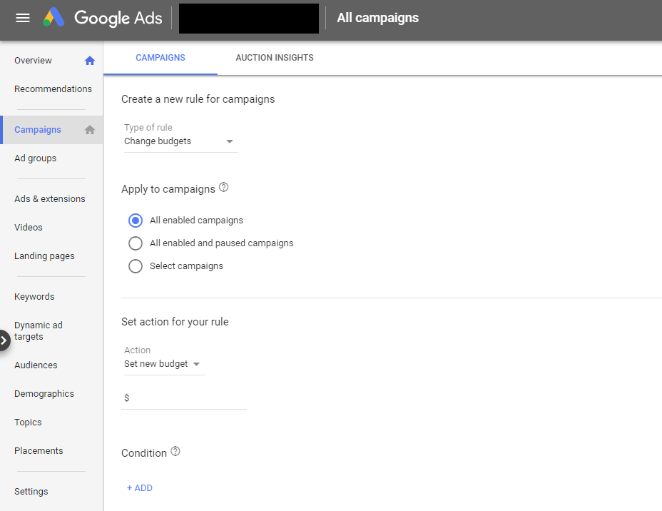 Example of Google Automated Rules