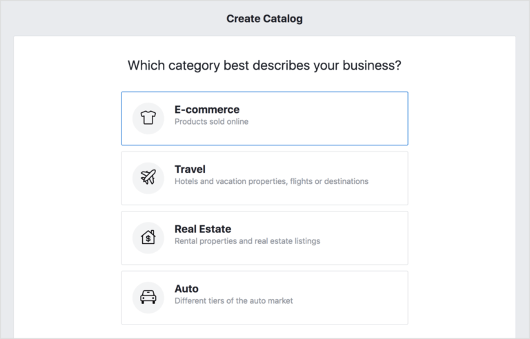 Creating a product catalog in Facebook dynamic ads