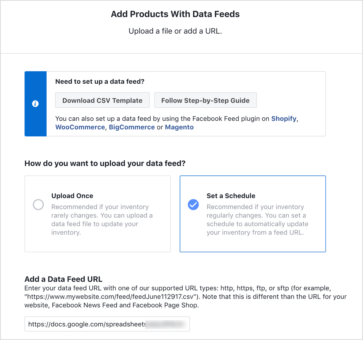 Uploading product data in Facebook dynamic ads