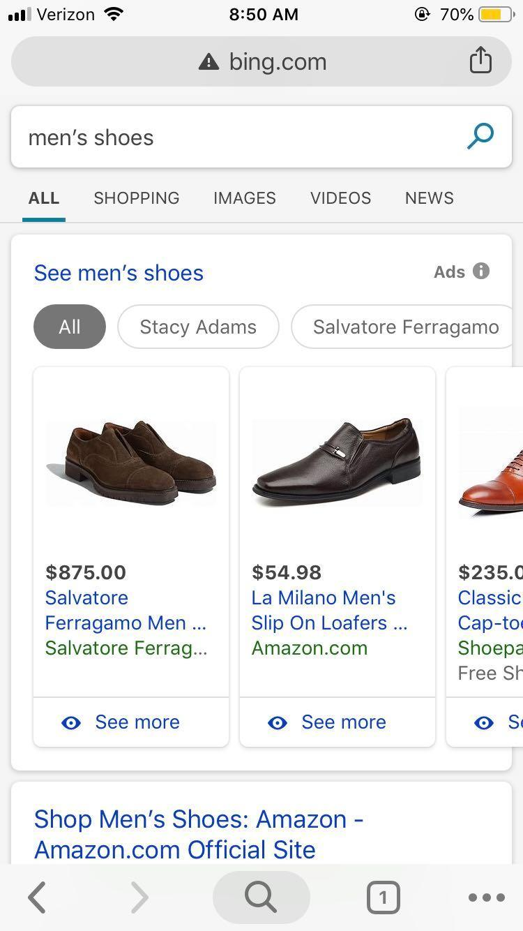 ecommerce-ppc-bing-mens-dress-shoes