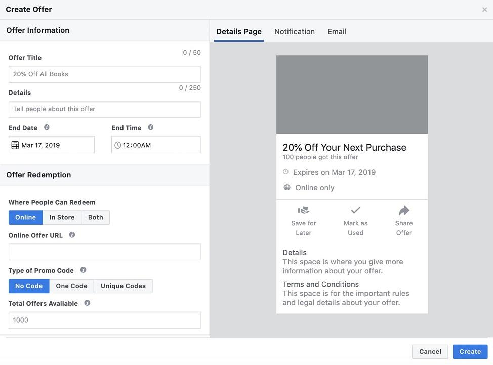 Create Offer step in Facebook Offer Ads setup