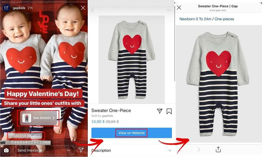 Instagram Story shopping example