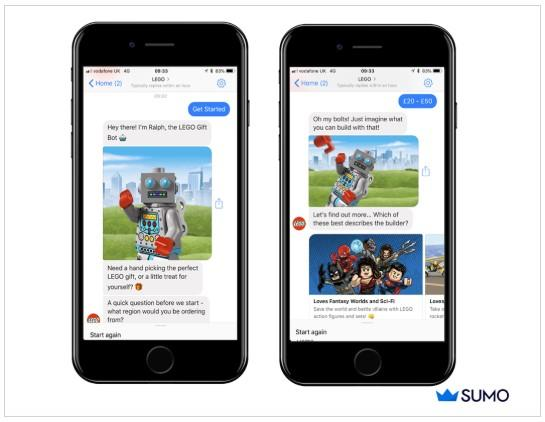 conversational ecommerce example from Lego