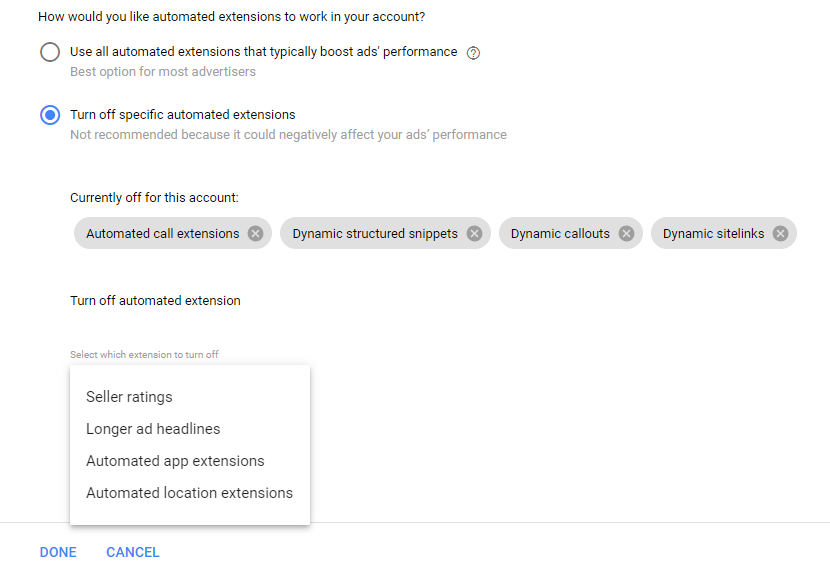 Screenshot of choosing how you want automated extensions to work for your account