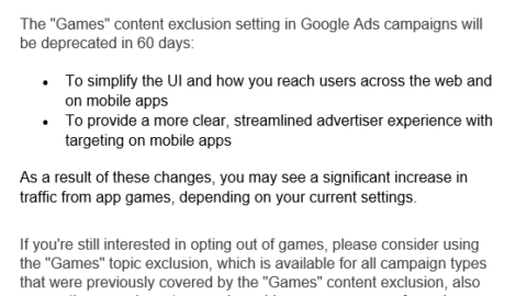 Google Sunsets Mobile Games Exclusion & More Recent News