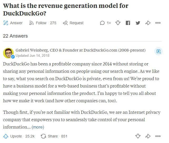 DuckDuckGo CEO's Promoted Answer