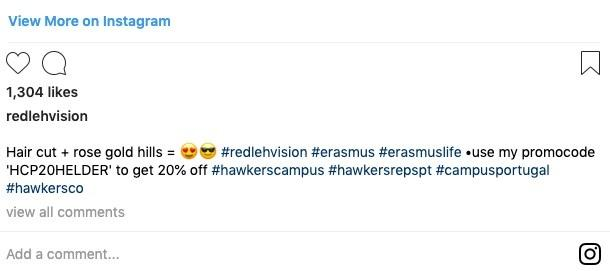 Hawkers Instagram referral offer
