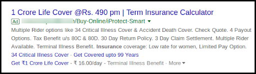 Example of using statistics to create appealing ad copy