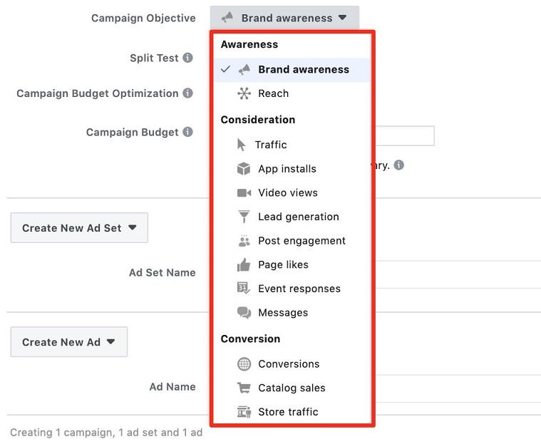 Facebook funnel campaign objectives