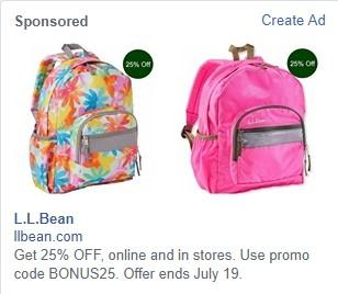 Facebook sales funnel LL Bean ad