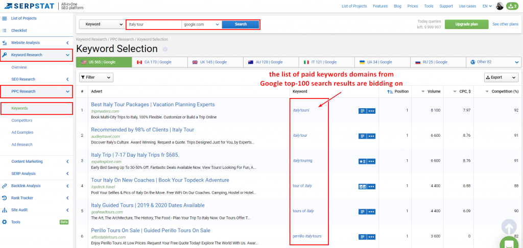 creating a keyword list by monitoring the top-100 that competitors are bidding on keywords