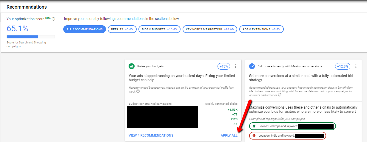 optiscore report under recommendations from google