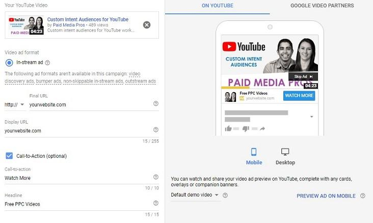 YouTube call-to-action extension preview