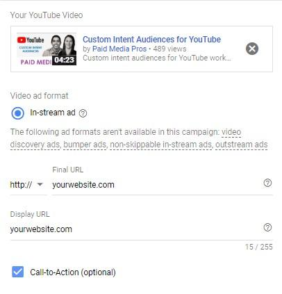 YouTube call-to-action extension setup view