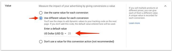 create dynamic conversion value view in Google Ads