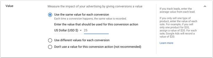create static conversion value view in Google Ads