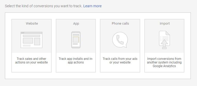 conversion options for Google Ads