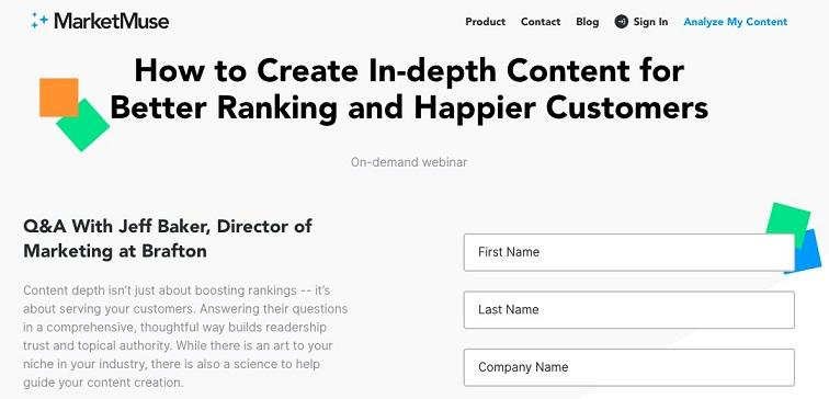 pop-up from landing page example