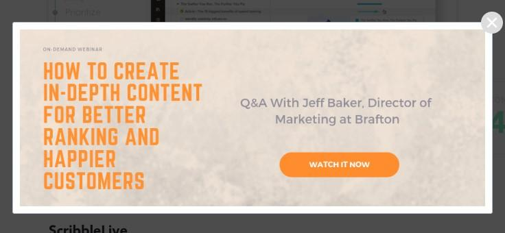 pop-up advertising landing page example