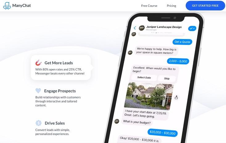 ManyChat startup landing page