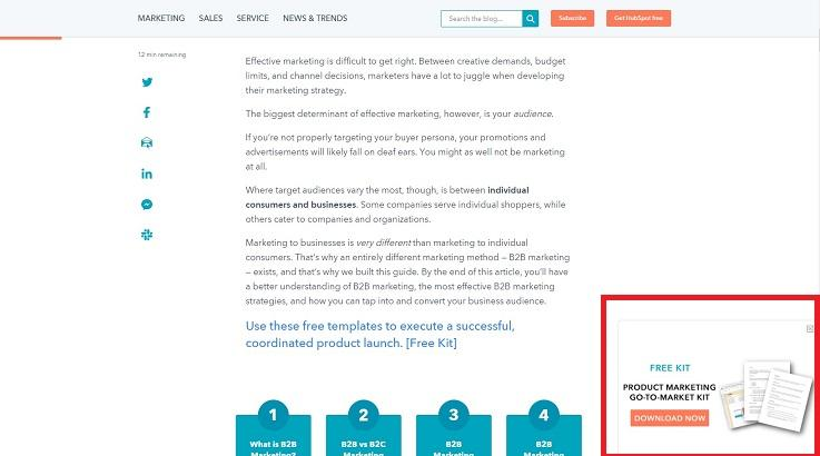 HubSpot example of a free stuff offer