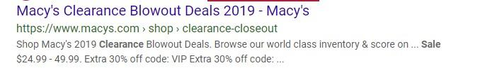 Macy's PPC ad with ecommerce discount
