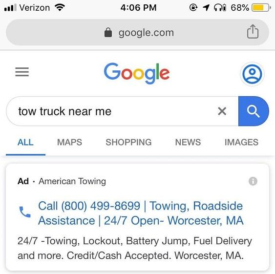 Google call-only ad example with headlines