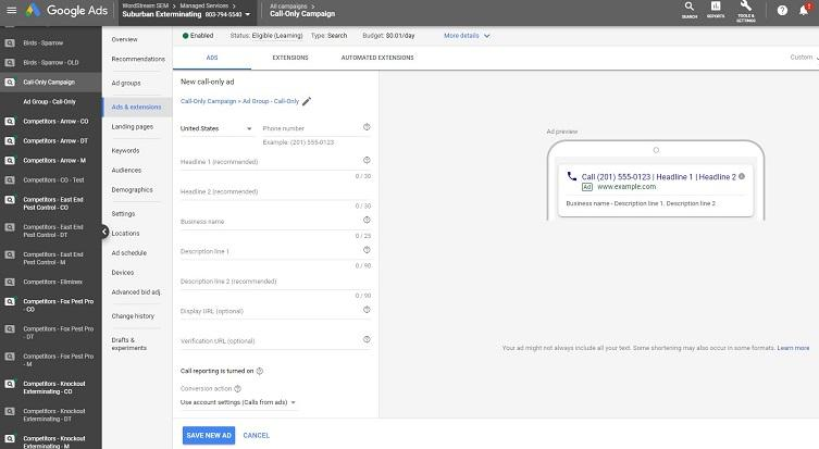 Google Ads platform view of call-only ad