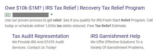 Google search ad for tax relief