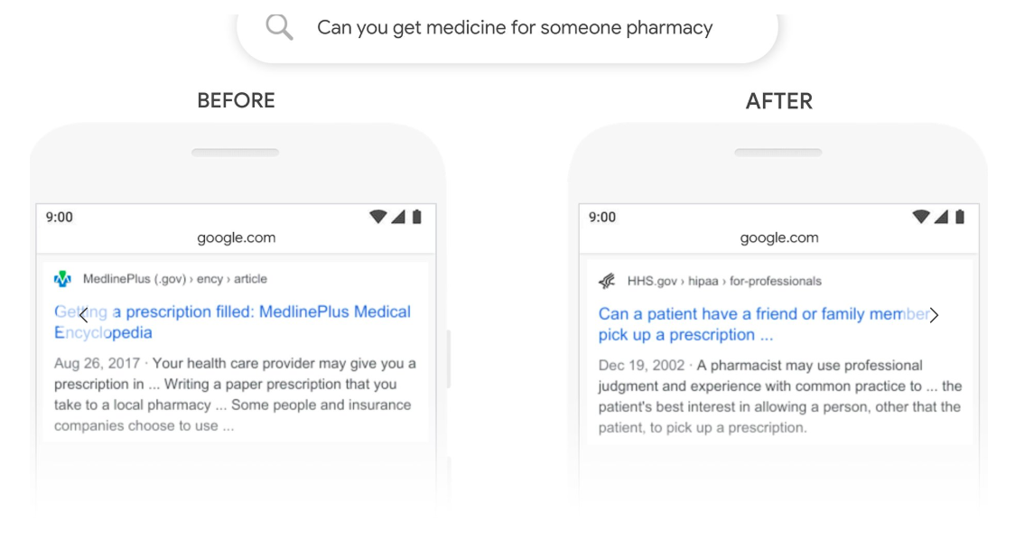 BERT Google Algorithm Update Pharmacy
