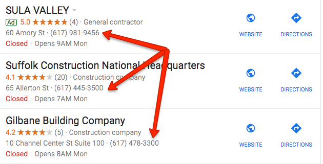 Google SERP results for construction in Boston
