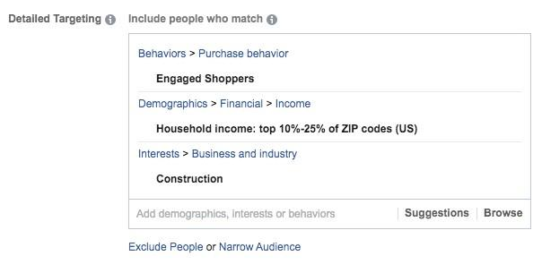 detailed targeting for construction marketing example