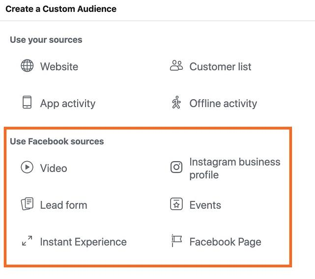 Google Ads options for social engagement remarketing lists
