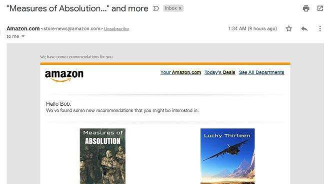 Amazon related deals remarketing email