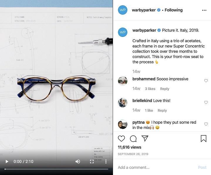 Warby Parker product Instagram post