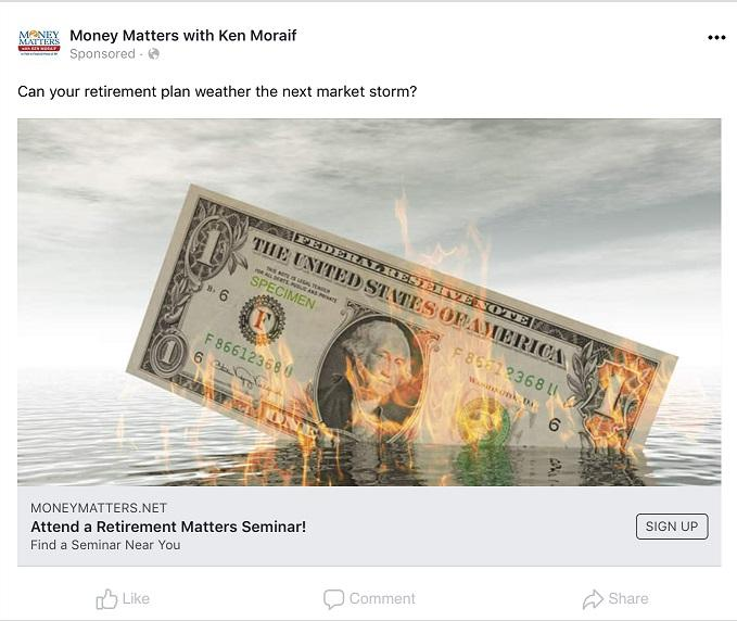 retirement ad example from Facebook