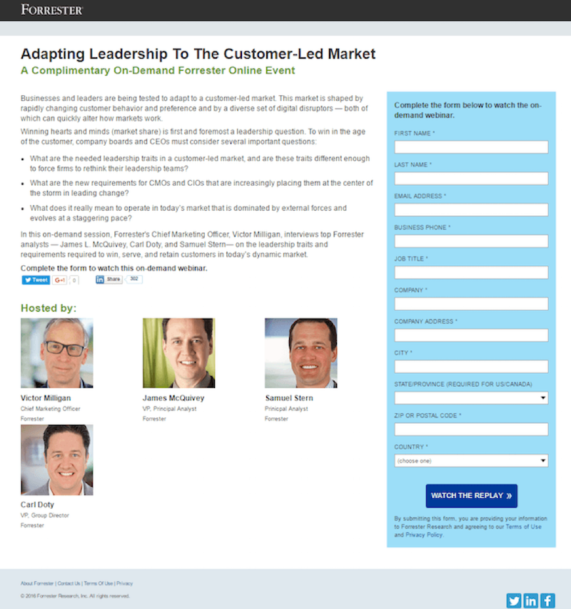 better webinar landing pages forrester example